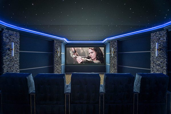 blue custom home theater